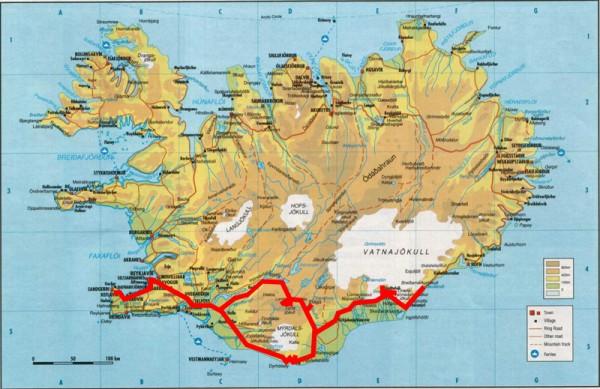 carte itinéraire circuit voyage Islande Sud
