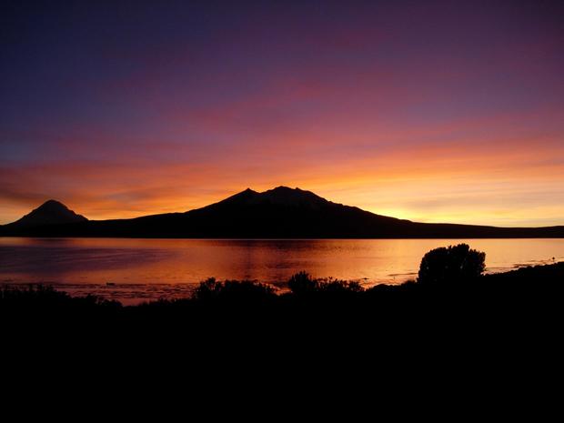 Coucher de soleil dans la Parc National Lauca, Chili - Blog Voyage Trace Ta Route