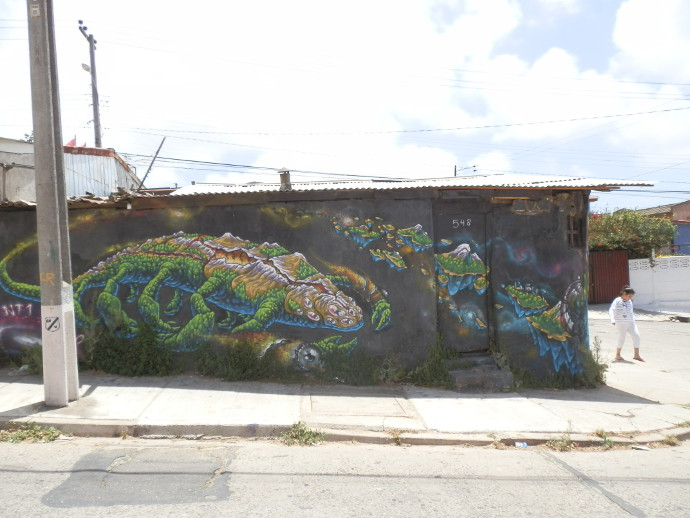street art valparaiso animal vert bloga voyage chili trace ta route