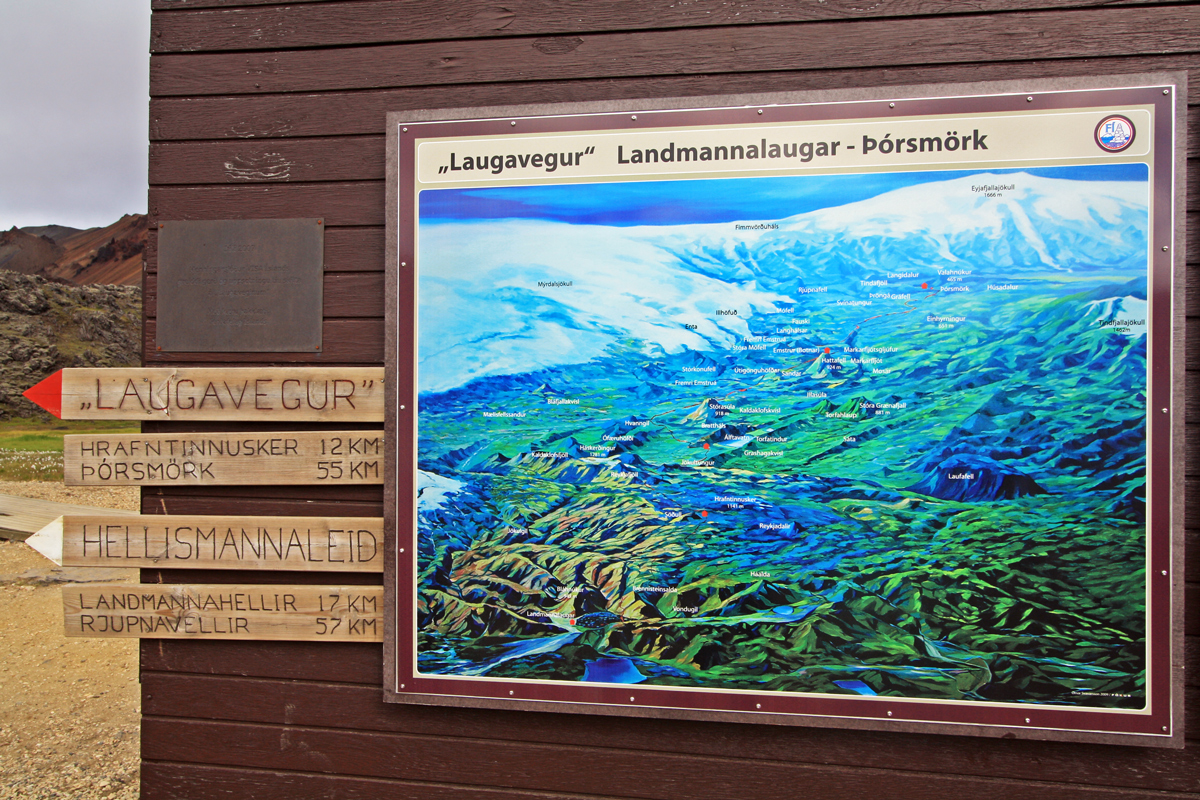 Carte du Trek Laugavegur (Landmannalaugar - Islande)