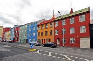 Façades colorées de bâtiments à Reykjavik, Islande