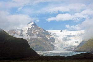 Vue sur le glacier en arrivant à Skaftafell, Islande