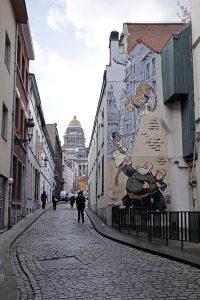 Fresque BD - Odilon Verjus (Laurent Verron, Yann Le Pennetier) - Rue des Capucins, Bruxelles