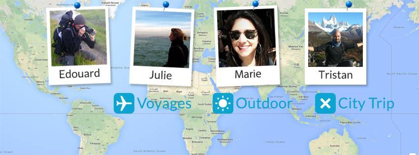 Les blogueurs de Trace Ta Route : Édouard, Julie, Marie et Tristan