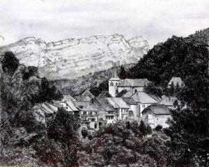 Le Châtelard - Dessin d'une vue sur le village avec la Dent d'Arclusaz en arrière-plan (Massif des Bauges, Savoie) © L'Oeil d'Édouard