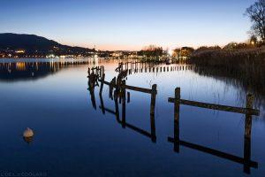 Le Lac d'Annecy le soir au crépuscule, depuis le ponton d'Albigny © L'Oeil d'Édouard
