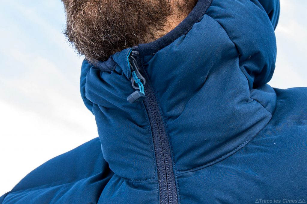 Fermeture zip col menton Doudoune Stretchdown Plus Hooded Jacket Mountain Hardwear