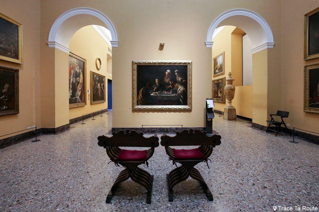 """""""Le Souper à Emmaüs"""" (1606) Le CARAVAGE - Salle exposition Musée Pinacothèque de Brera de Milan - Peintures XVIIe siècle"""