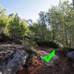 Itinéraire sentier rouge randonnée Montagne Sainte-Victoire - départ depuis le Parking de l'En Chois