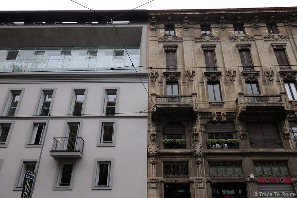 Contraste Architecture contemporaine / historique des bâtiments de Milan