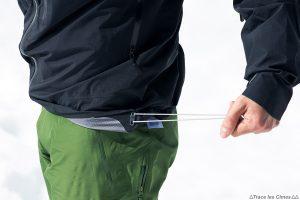 Test Veste Gore-Tex TROLLVEGGEN NORRØNA review : cordon élastique serrage bas de veste