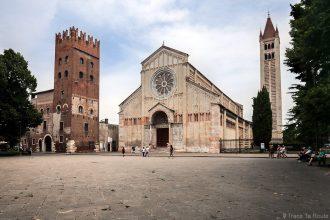 Parvis et façade de la Basilique San Zeno de Vérone - Piazza San Zeno et architecture extérieure Basilica San Zeno Maggiore di Verona