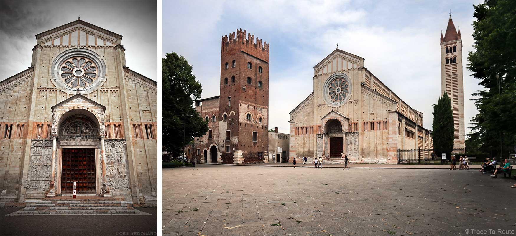 Porte et rosace de la Basilique San Zeno de Vérone - architecture extérieure Basilica San Zeno Maggiore di Verona