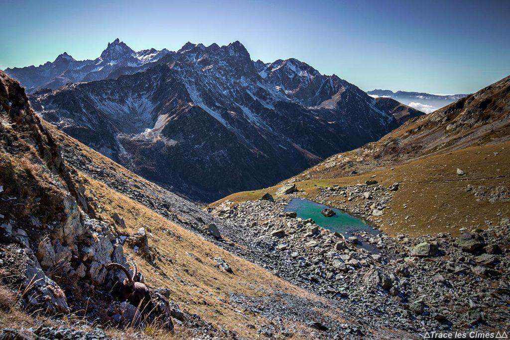 Lac du Vénétier et la Chaine de Belledonne avec le Grand Pic de Belledonne