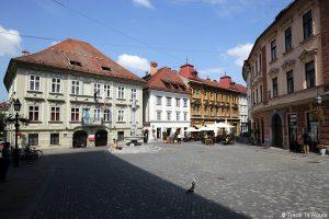 Place Strari trg dans la vieille ville de Ljubljana, Slovénie