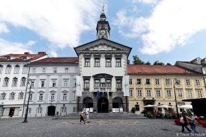 Hôtel de ville de Ljubljana dans la rue Mestni trg, Slovénie
