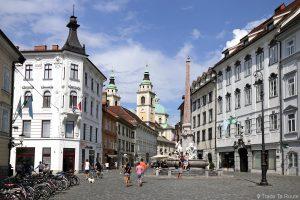 La fontaine Robbov vodnjak sur la place Mesni trg dans la veille ville de Ljubljana et la Cathédrale Saint-NicolasStolnica svetega Nikolaja, Slovénie