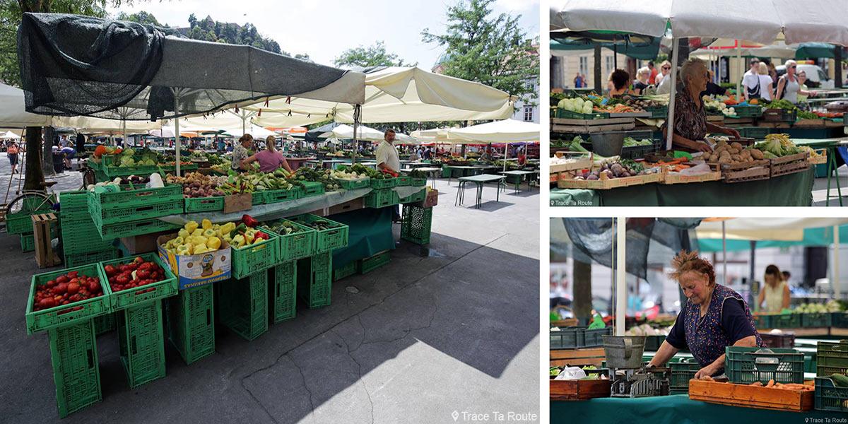 Étals du Marché de fruits et légumes de Ljubljana, Place Vodnikov trg - Slovénie