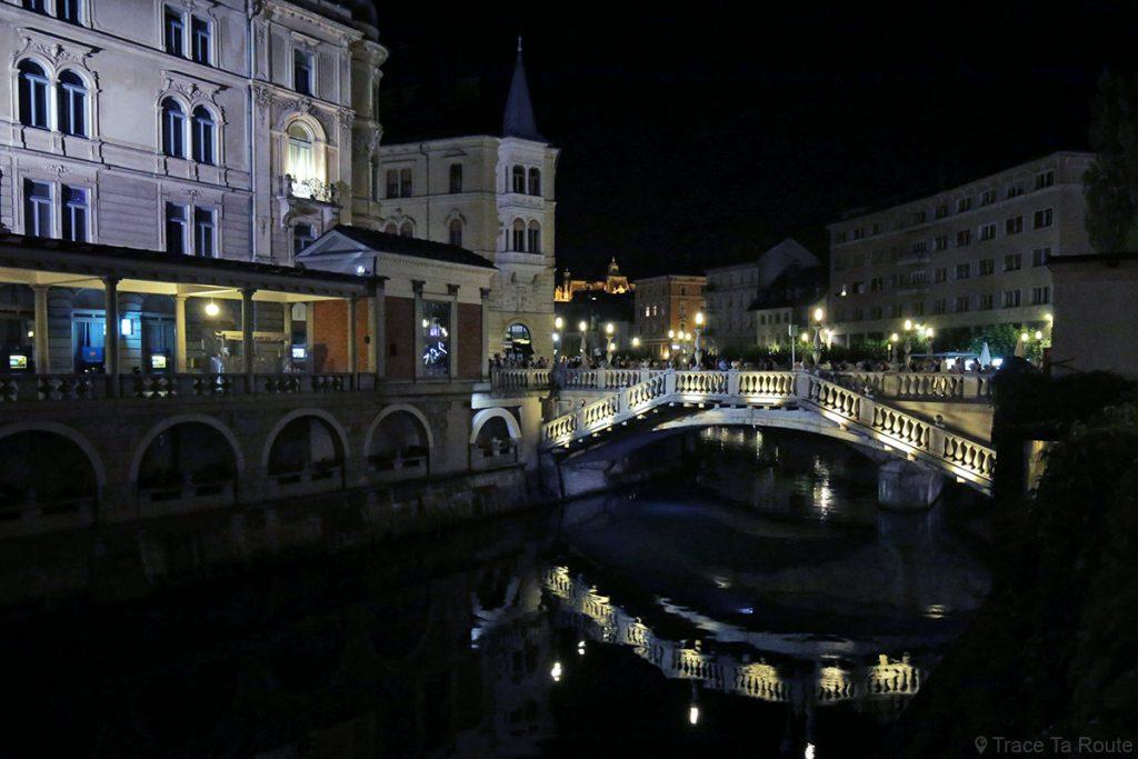 Le Triple Pont de Ljubljana la nuit, Slovénie - Ljubljana by night