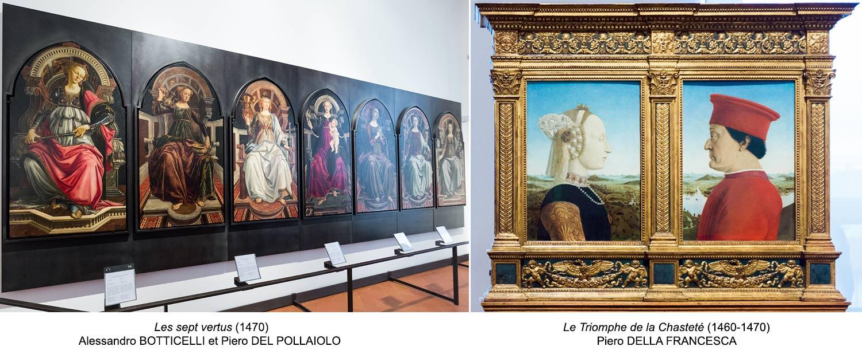 Les sept vertus (1470) Alessandro BOTTICELLI et Piero DEL POLLAIOLO / Le Triomphe de la Chasteté, Portraits du Duc d'Urbino et sa femme Battista Sforza (1460-1470) Piero DELLA FRANCESCA - Musée de la Galerie des Offices de Florence (Galleria degli Uffizi di Firenze)