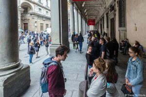 File d'attente entrée du Musée de la Galerie des Offices de Florence