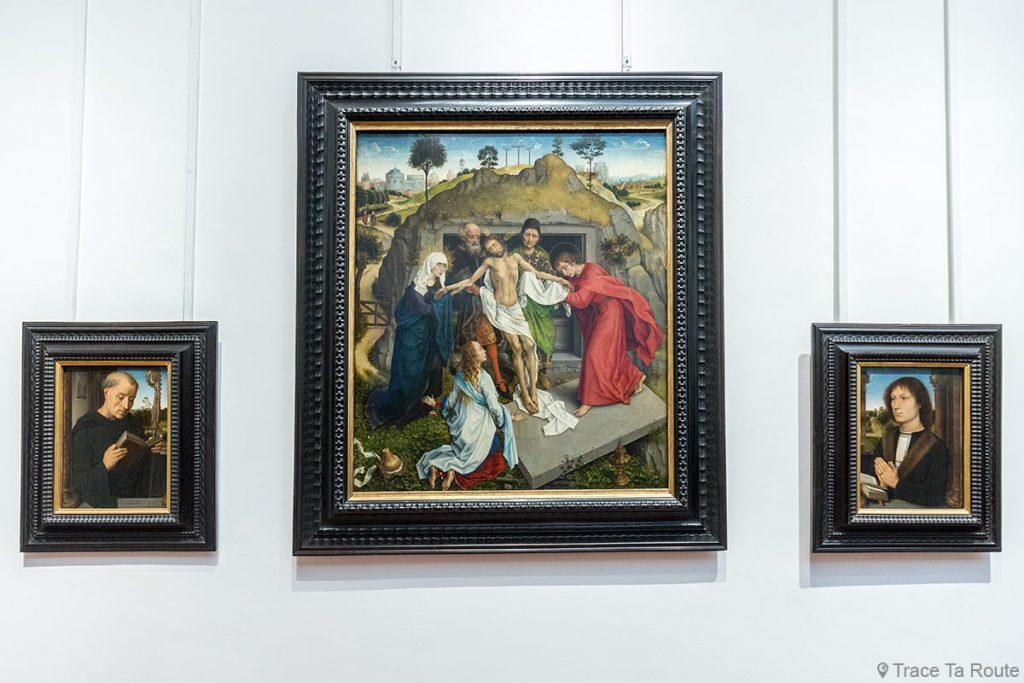 Saint Benoit (1487) et Portrait de Benedetto Portinari (1487) d'Hans MEMLING et Lamentation sur le Christ (1460) de Rogier VAN DER WEYDEN - Musée de la Galerie des Offices de Florence (Galleria degli Uffizi di Firenze)