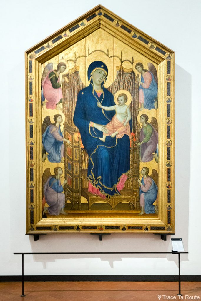 "Vierge à l'Enfant sur le trône avec anges ""Maestà di Santa Maria Novella"" (1285) DUCCIO DI BUONINSEGNA - Musée de la Galerie des Offices de Florence (Galleria degli Uffizi di Firenze)"