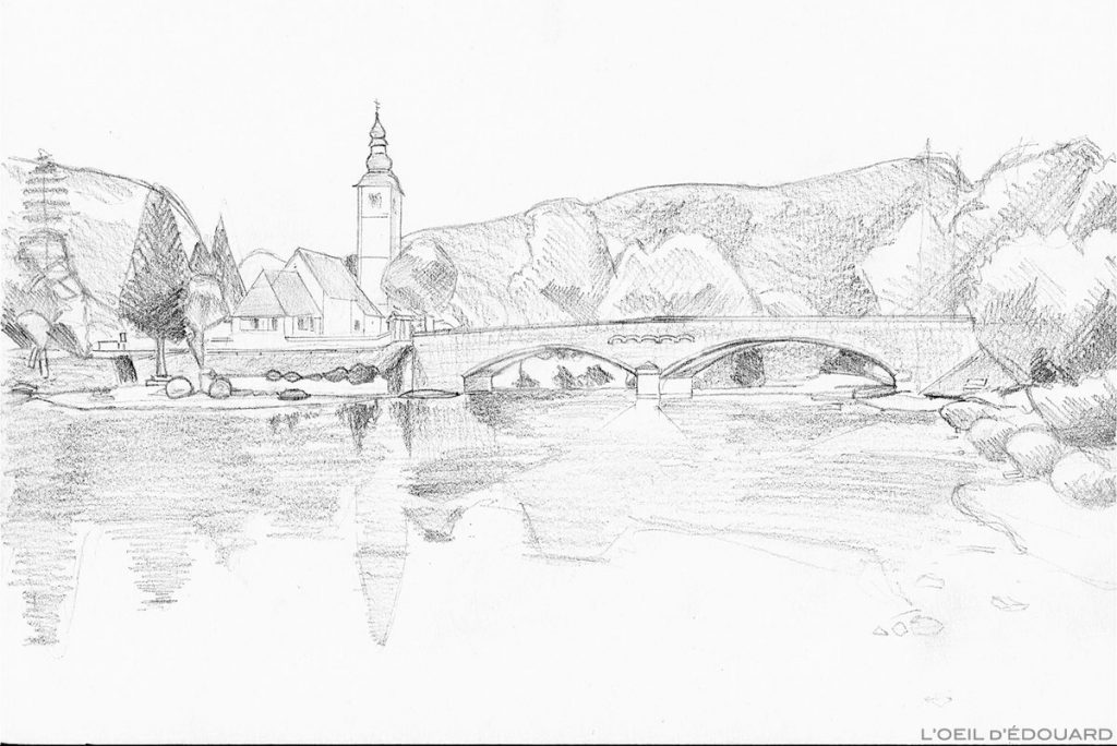 Dessin de Bohinj, Slovénie - drawing picture of Bohinjsko jezero, Slovenia