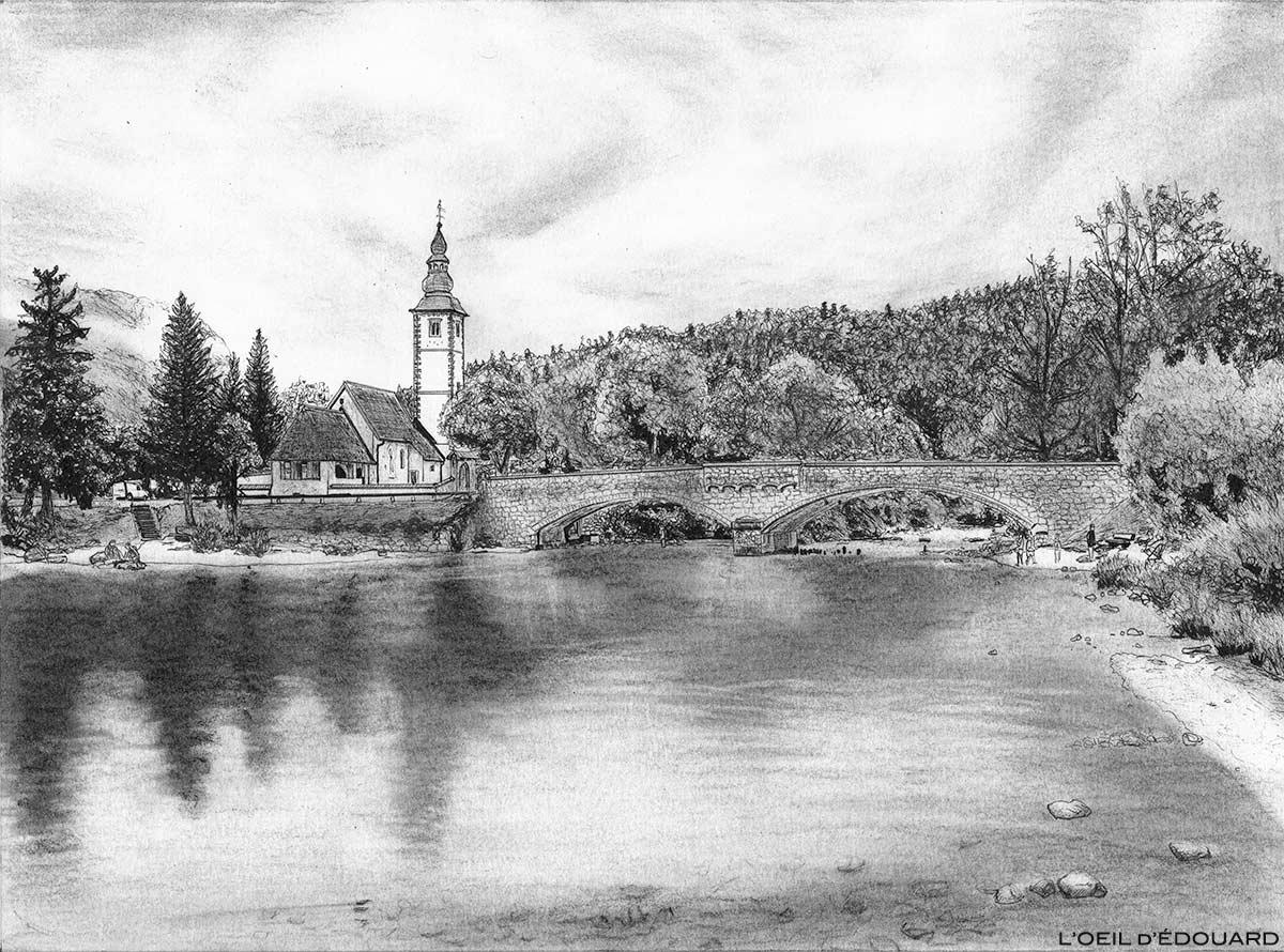 Dessin de Bohinj, Slovénie - drawing picture of Bohinj Lake Slovenia / Ribčev Laz, Bohinjsko jezero, Slovenija