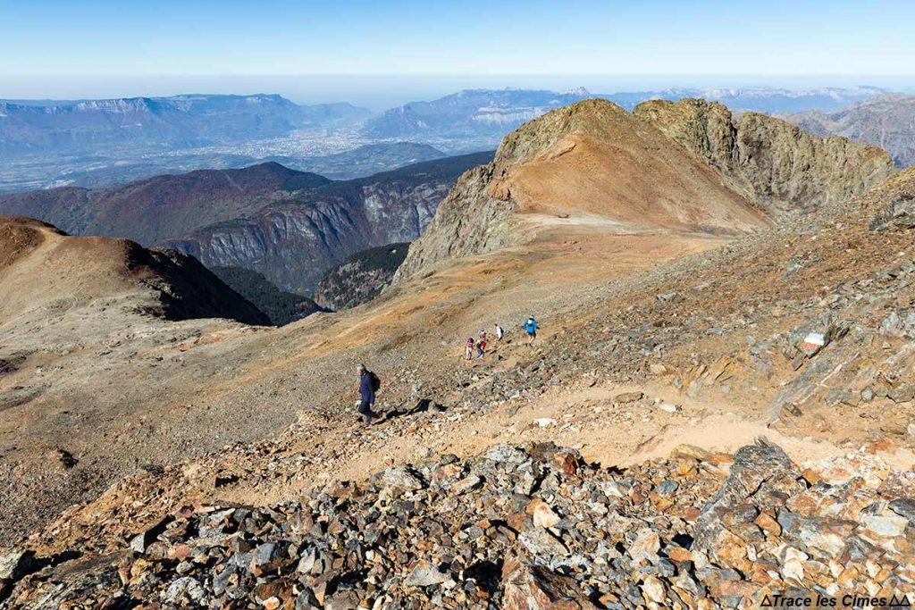 Itinéraire randonnée au Taillefer par le Col du Grand Van avec Grenoble en fond