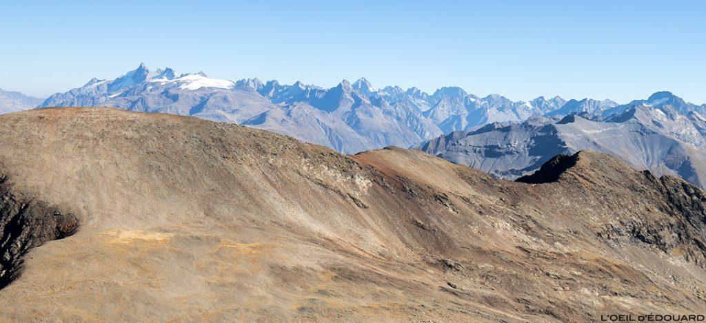 Le Massif des Écrins depuis le sommet du Taillefer