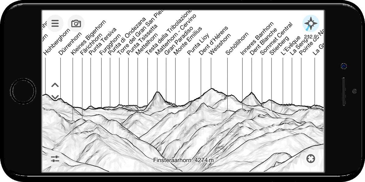 Application PeakFinder nom des montagnes - Capture d'écran smartphone (screenshot)