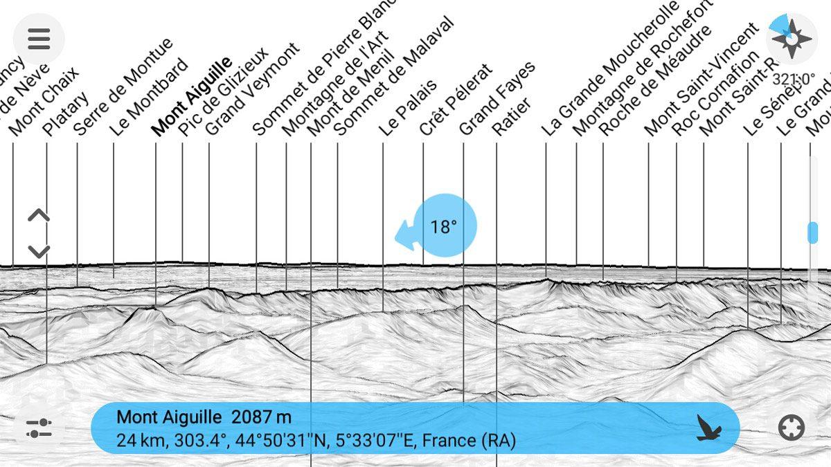 Application PeakFinder nom des montagnes - Capture d'écran smartphone outil sommets visibles (screenshot)