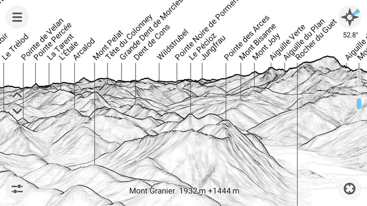 Application PeakFinder nom des montagnes - Capture d'écran smartphone outil Élévation au-dessus du sol (screenshot)