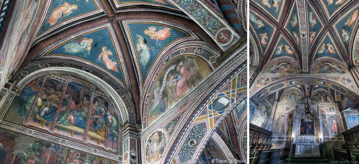 Fresques sur le plafond de la Chapelle du Museo Civico de Sienne - Cappella di Palazzo Pubblico di Siena
