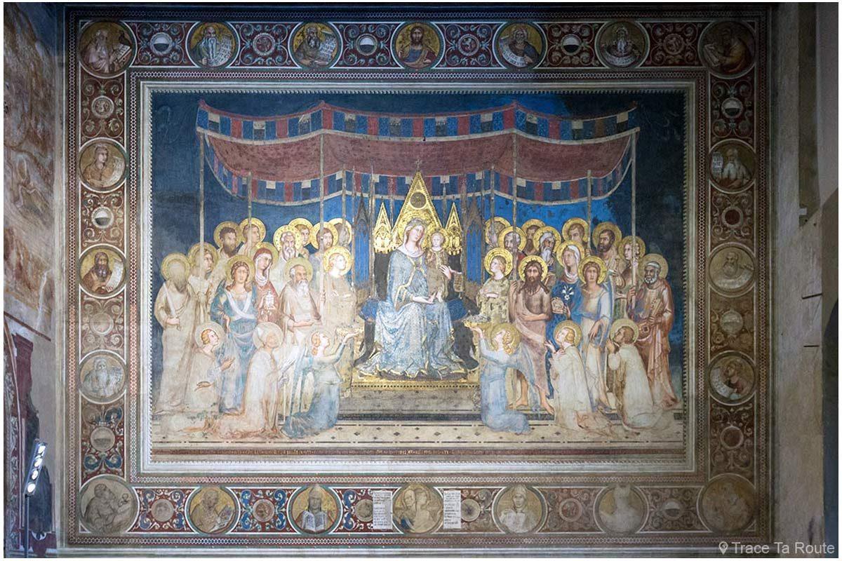 """Fresque """"Maestà"""" (1312-1315) Simone Martini - Salle de la Mappemonde du Museo Civico de Sienne / Sala del Mappamondo di Palazzo Pubblico di Siena"""