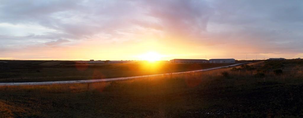 Coucher de soleil sur Keflavík Town Islande