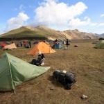 Tente au camping de Landmannalaugar en Islande