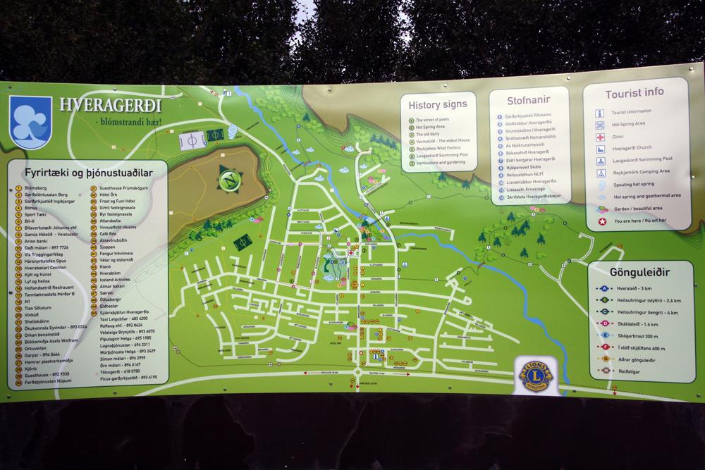 Plan de la ville de Hveragerdi, Islande
