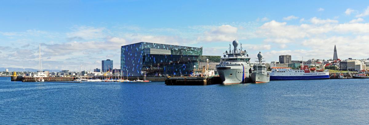 Vue sur Reykjavik et Harpa depuis le Port, Islande