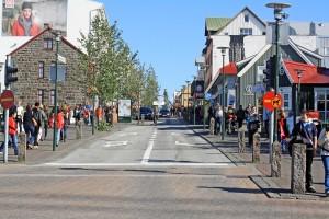 Rue Laugavegur à Reykjavik, Islande