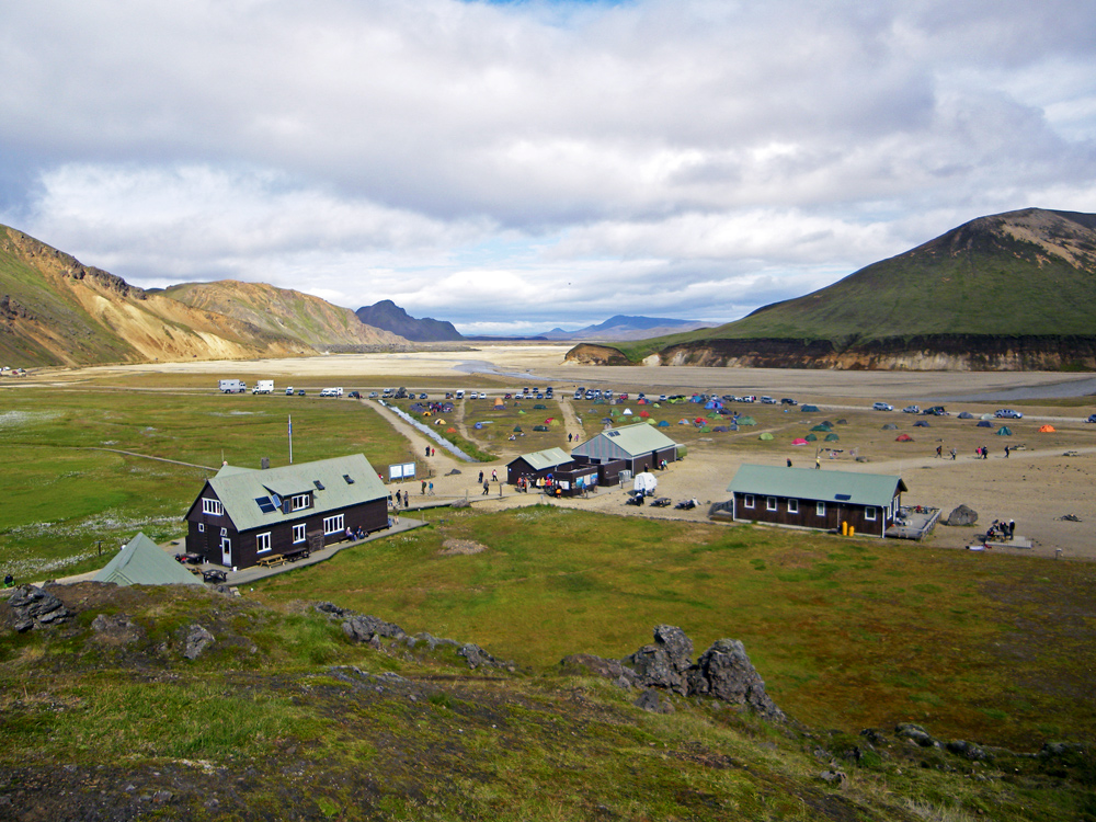 Camping de Landmannalaugar Islande Paysage Iceland Base camp Islensk Wild Outdoor Landscape
