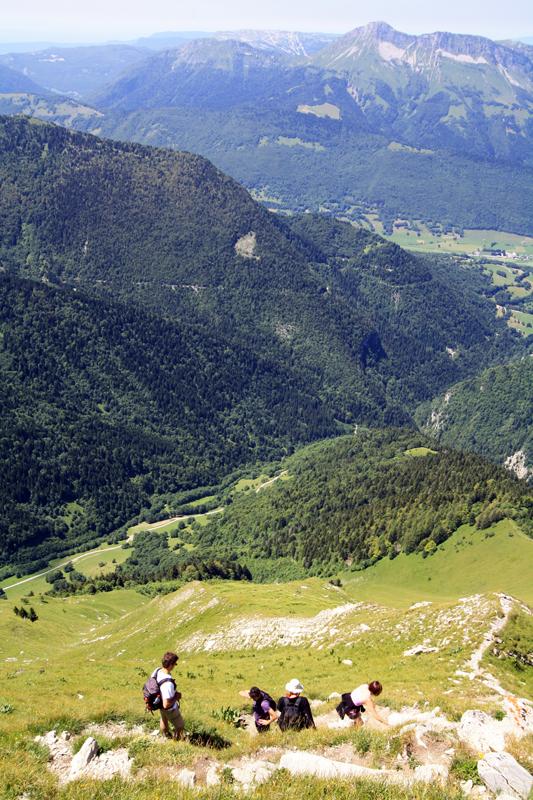 Descente du Pécloz (face Ouest) avec vue sur le Colombier