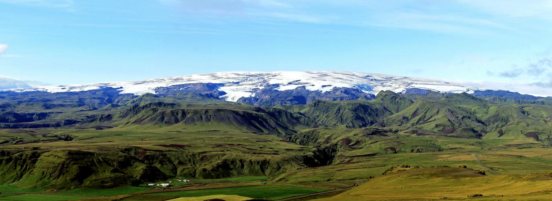 Glacier Myrdaljokull depuis Reynisfjall Islande Paysage Montagne Vik i Myrdal Iceland Landscape Mountain Islenk