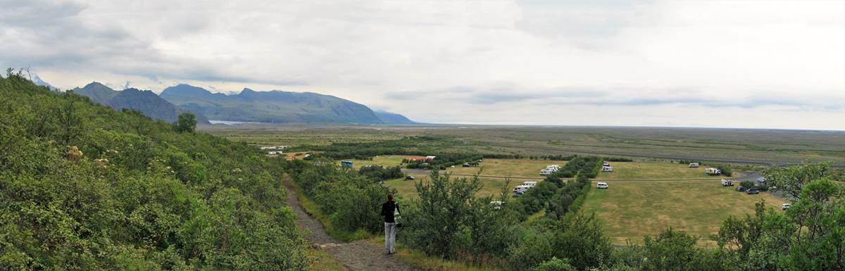 Vue sur le camping de Skaftafell, Islande