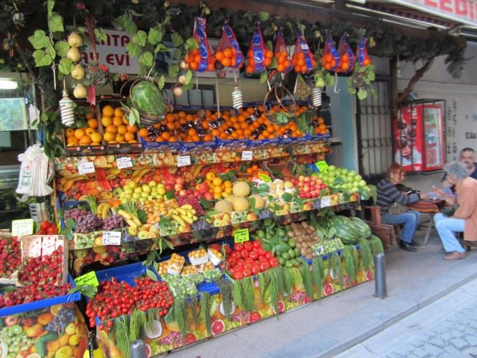 Marchand de légumes dans Galata, Istanbul Turquie