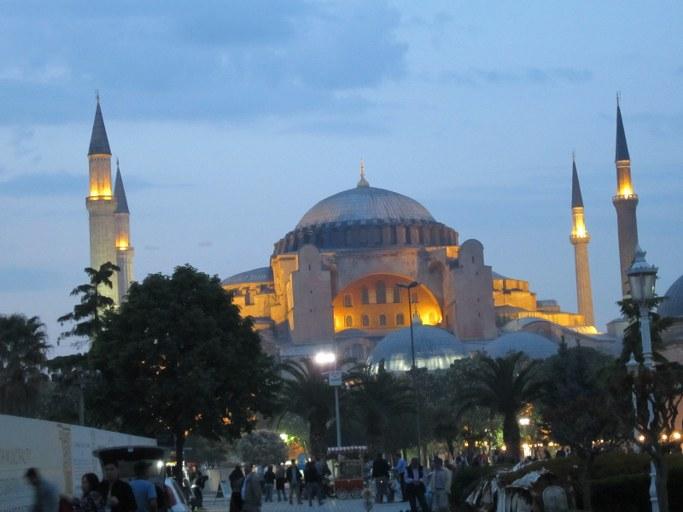 Basilique-Sainte Sophie vue de nuit, Istanbul Turquie