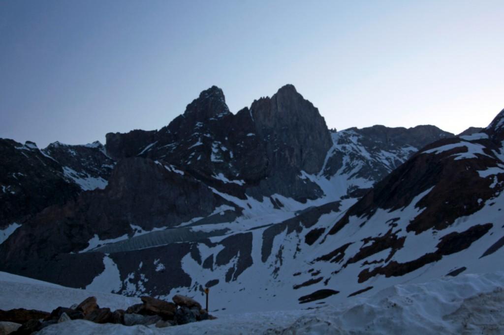Pointes de la Petite et de la Grande Glière, à l'aube (Parc National de la Vanoise)