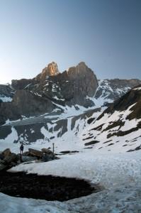 Pointes de la Glière (Vanoise) au coucher du soleil