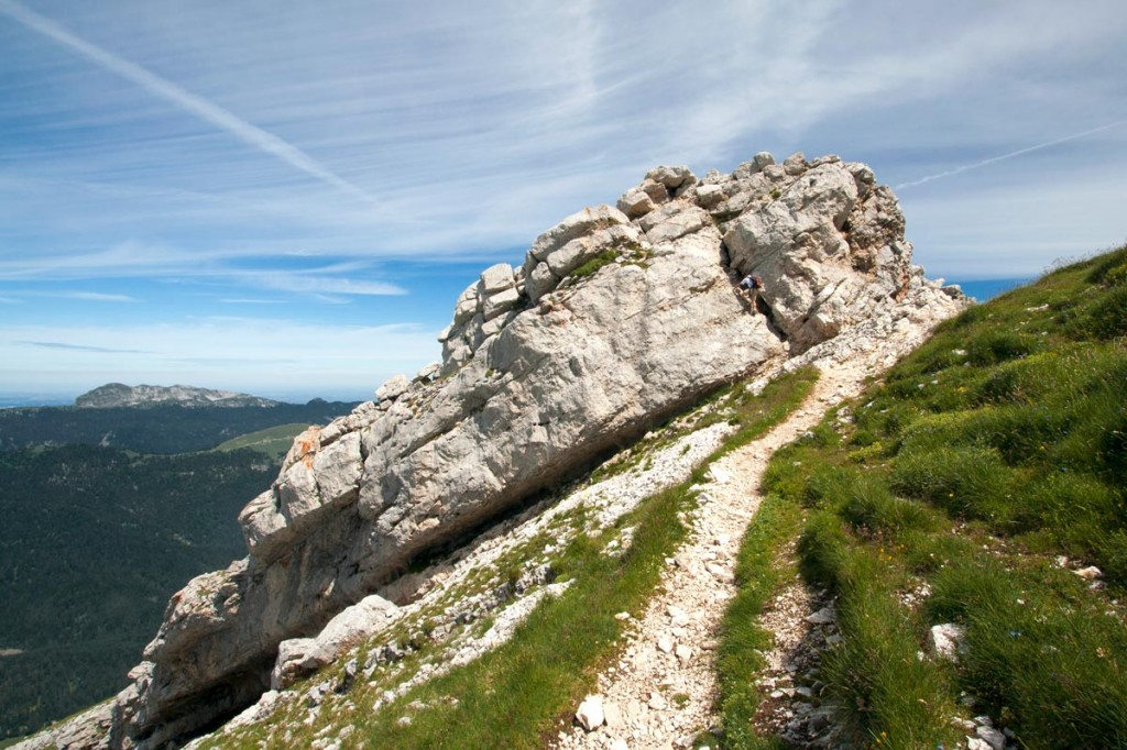 2nd passage rocheux, sommet de Chamechaude (Massif de la Chartreuse)
